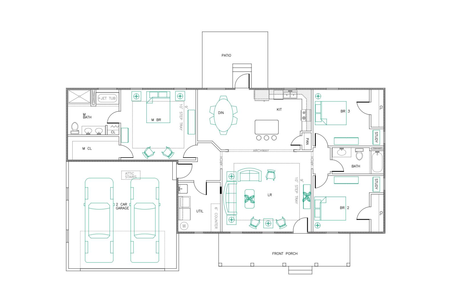 RANCH HOUSE PLANS 1747 SF 3 Bed 2 Bath Open Floor Split ...