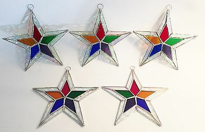 Stained Glass STARS Iridescent MULTI COLOR Ornaments ! Lot of 5-5 1//2 inch