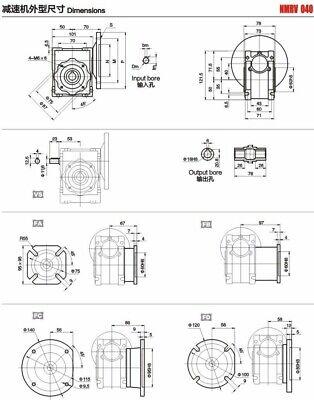 NMRV040 Worm Gear Reducer Ratio 10~100:1 Shaft for NEMA24/32/34/36 Stepper Motor 8