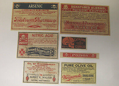 Set of 13 POISON VINTAGE LOOK APOTHECARY LABELS Halloween / Primitive 4