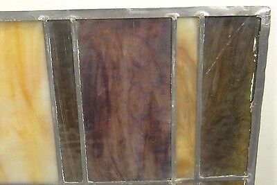 GEOMETRIC RECTANGULAR LEADED-STAINED GLASS WINDOW~Art Deco 22x15~HEAVY OBSCURITY 11