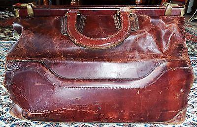 Antik Arzt Hebamme Echt Leder Tasche Reise Akten Koffer Messing Bronze Deko