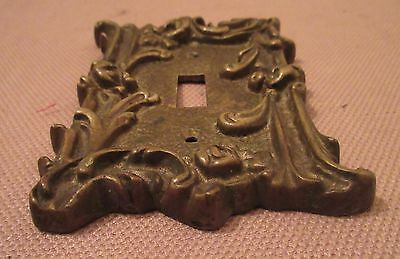 rare antique ornate thick solid brass light switch plate electric outlet cover 3