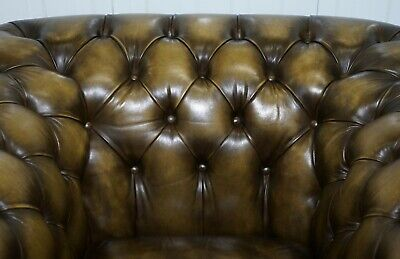 Stunning Pair Of Vintage Chesterfield Leather Club Armchairs Feather Cushions 12