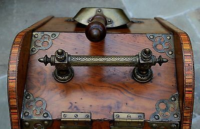 Antique French Burled & Inlaid Walnut Fireplace Hearth Coal Hod Scuttle Shovel 3