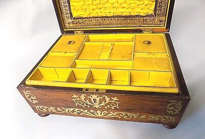 Antique Regency Rosewood Sewing Box. Brass Inlays. Original. Genuine. 11