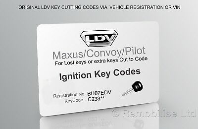 ldv ignition keycodes card - maxus/convoy/pilot ignition keys cutting  codes 2