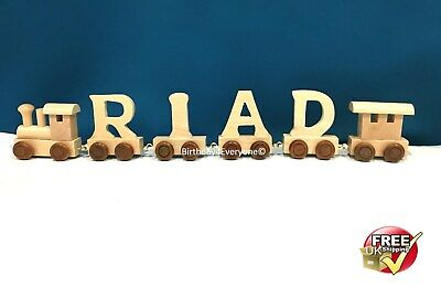 Personalized Letter Name wooden Train Birthday New Year Christmas Gift Toy 4