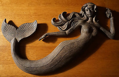 2 of 5 beautiful poly resin mermaid wall art sculpture rustic beach home decor sign new