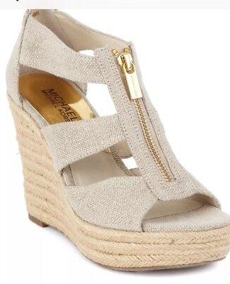 e4293d7b210 NEW MICHAEL KORS Damita Espadrille Wedge Sandal platform zip pale gold  canvas