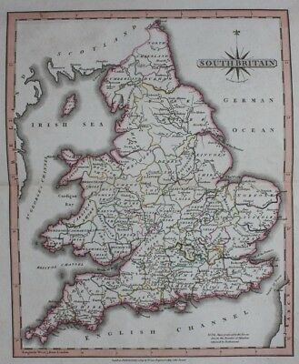 Original antique map SOUTH BRITAIN, ENGLAND, WALES, John Cary, 1809 2