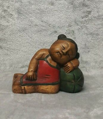 Large Antique/ Vintage Chinese c.20th Hand Carved Wooden Figurine Girl with Boy 3