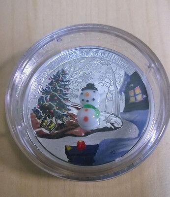 Canada 2014 Murano Venetian Glass Snowman $20 Christmas Silver Proof 3