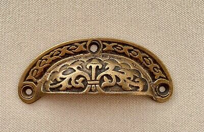 4 engraved shell shape pulls handles heavy solid brass old style drawer 9 cm B 3
