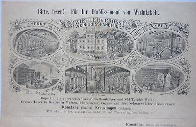 BRIEF WEINGROSSHANDLUNG 1889 ZIEGLER & GROSS KONSTANZ an HOTEL POST WALDKIRCH 2