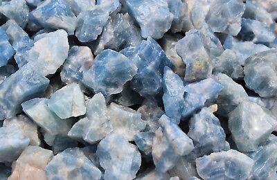 Bulk Wholesale Lot: Rough Blue Calcite 2 lb Crystal Healing Chakra Raw Chunks 6