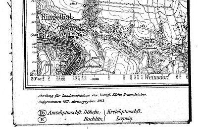 Generalstabskarte von Waldheim/ Sa. 1913
