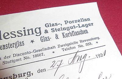 rechnung alt antik jos blessing ravensburg spiegel fensterglas glas  1921 papier 2