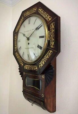 Whitmore Northampton Regency Superb Brass Inlaid Convex Dial Wall Clock 3