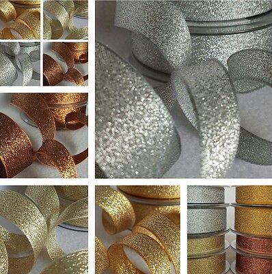 3,7,15,25,40mm Berisfords Sparkly Lame Ribbon Rose Gold Silver Copper Glitter 3