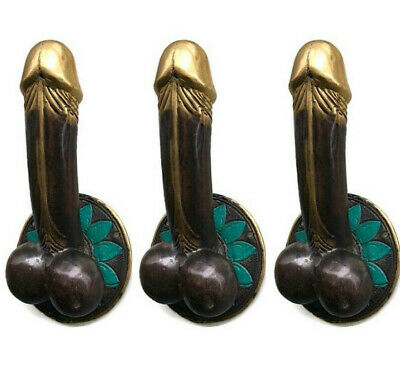 "4 PENIS shape DOOR PULL or HOOK hand made solid brass 9 "" handle heavy pair B 2"