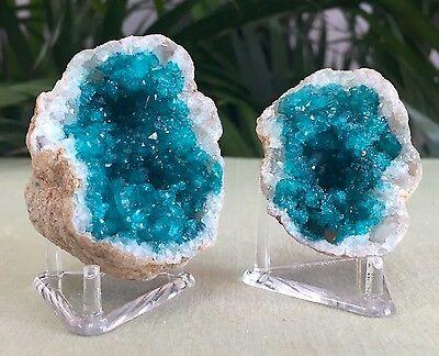 Blue Geode Pair W/Stands Crystal Quartz Gemstone Specimen Dyed Morocco Geode 4