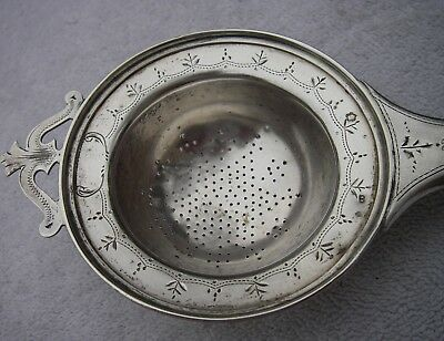 Antique AUSTRIAN Silver CUP TOP TEA STRAINER-Horn Handle-Engraved Decoration