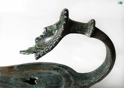 Spectacular Ancient 1st Cent. AD Roman Large Bronze Oil Lamp with Goddess Head 5