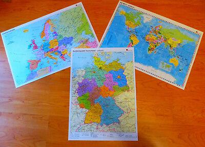 Sparpack Deutschland + Europa + Welt Landkarte Poster Wand Bild A2 Plakat Karte 11