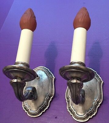 Heavy Cast Nickel Finish Wall Sconce Pair Beautiful Vintage Wired Great 2