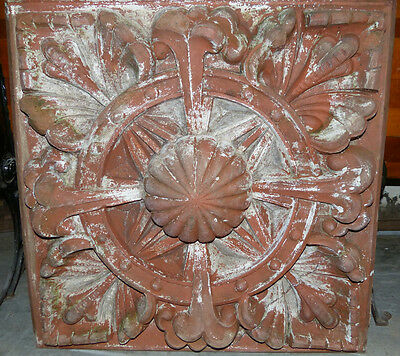 Large 1880's Pair of Unglazed Red Terra Cotta Rosettes Indianapolis, IN Blocks 6