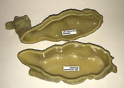 """Antique French CAMEL COVERED BOX Beige GLASS DISH 19c VALLERYSTHAL Dromadary 8"""" 4"""
