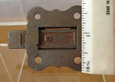 Vintage Small Weathered Iron Metal Eastlake Cabinet Window Slide Latch 8