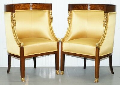 1870 French Empire Marquetry Inlaid Suite Pair Berger Armchairs & Settee Canape 2