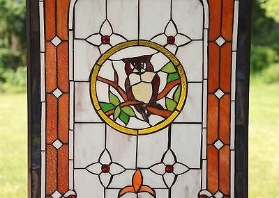 "20"" x 34"" Large Tiffany Style stained glass window panel owl on the tree 7"