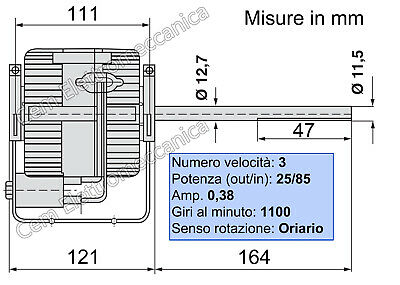 Motore Elettrico 3 velocità 85 W - ventilatore fan coil condizionatore monofase 2