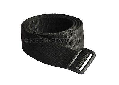 BLACK LEATHER BELT PLASTIC BUCKLE NICKEL ALLERGY SAFE S M L XL METAL FREE