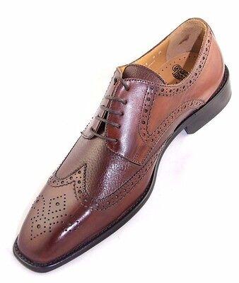 2 Of 6 Calzoleria Toscana 7181 Calfskin Deerskin Wingtip Mahogany Leather Dress Shoes