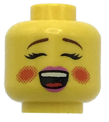 LEGO NEW YELLOW MINIFIGURE HEAD DUAL SIDED FEMALE GIRL FACE HAPPY LOOK RED CHEEK