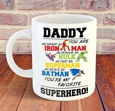 Daddy Superhero Mug Cup 11Oz Birthday Christmas Father His Dad Gift Him