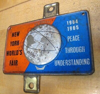 1964-65 New York World's Fair Unisphere License Plate Topper Bike Auto Sign NYWF 3