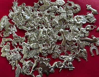 100 SILVER Mexican Folk Art Milagros Charms Exvoto Nicho Retablo Charms Lot #3 3