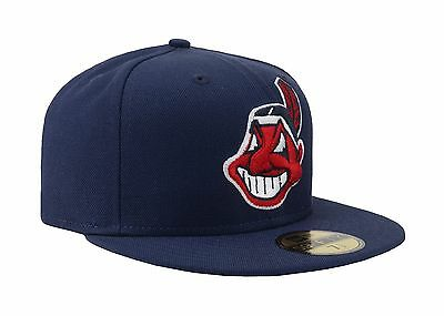 online store 3238c 58616 ... New Era 59Fifty MLB Cap Cleveland Indians Navy Blue Large Face Fitted  Wool Hat 3
