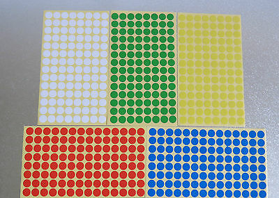 10mm Round 11 Colour Dot Sticker Circle Sticky Self Adhesive Label