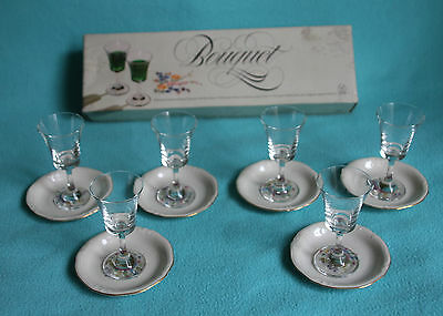 """Dema """"Bouquet"""" 6x liquer Glasses and 6x Bavaria Windsor floral pin dishes 2"""