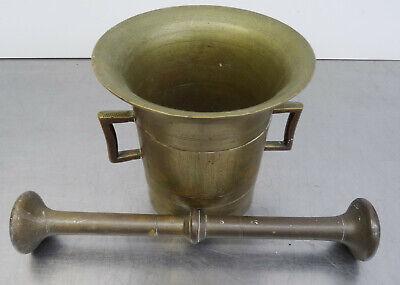 Antiker schwerer Bronze Mörser mit Pistill - Apotheker Gefäß mit Stößel 3