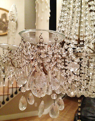 Incredible Antique Macaroni Beaded Xlrg Silver Gilt Empire Chandelier