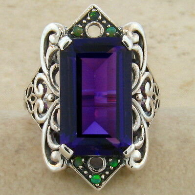 6 Ct. Lab Amethyst Antique Victorian Style 925 Sterling Silver Ring Size 10,#465 3