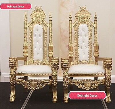 ... King U0026 Queen Large Wedding Throne Chairs Gold For Hire Only