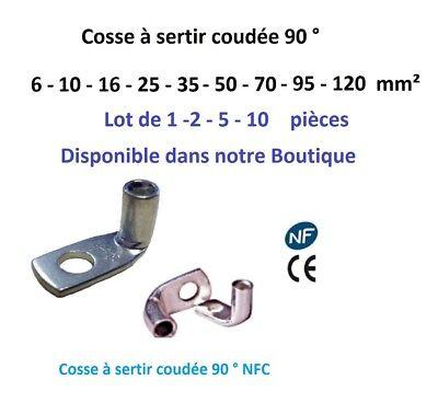 Cosse electrique à sertir 6 ou 10 ou 16 ou 25 ou 35 mm²  lot de 2 - 5 -10 pièces 6